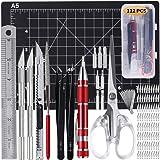 112 Pcs Exacto Knife,Art Knife,Utility Knife,Stencil Making kit,Including Cutting Mat Screwdriver Tweezers Scissors Ruler Sto
