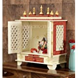 TAM Creatio Wooden Pooja Mandir  Indian   Hindu   Decoration   Puja   Cabinet   Temple   Bhagwan   Stand   Mandapam   Wall   
