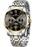 [メガリス]MEGALITH メンズ腕時計 クロノグラフ防水時計 ステンレスメッシュウオッチブラック 多針アナログクオー…