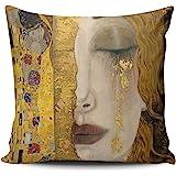 Hoooottle Custom Luxury Funny Colorful The Kiss by Gustav Klimt Boudoir Pillowcase Rectangle Zippered One Side Printed Throw