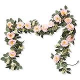 Miracliy 8 pcs 66 FT Flower Garland Rose Vine Artificial Flower Hanging Rose Ivy Home Hotel Office Wedding Party Garden Craft