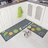 "Carvapet 2 Piece Non-Slip Kitchen Mat Rubber Backing Doormat Runner Rug Set, Lemon Design (Grey 15""x47""+15""x23"")"