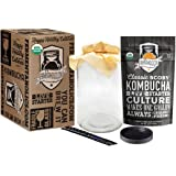 Kombucha Essentials Kit - ORGANIC SCOBY (starter culture) + 1-Gallon Glass Fermenting Jar with Breathable Cover + Rubber Band