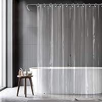 億騰 シャワーカーテン 透明 カーテン 180x180cm 防水 防カビ 防音 風呂カーテン 目隠し 浴室カーテン バス…