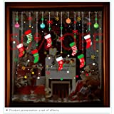 ONDY Christmas Garter Window Glass Decoration Stickers 2020 New Holiday Merry Christmas Removable Dress Up DIY Wall Stickers