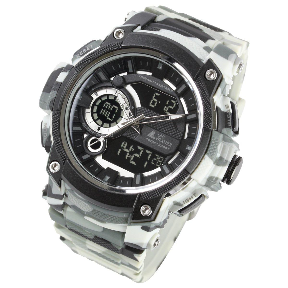 b3a1de5ccc [LAD WEATHER]アナデジ ミリタリーウォッチ トリプルタイム 100m防水 アウトドア時計 メンズ腕時計 lad043