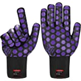 JH Heat Resistant Oven Glove:EN407 Certified 932 °F, 2 Layers Silicone Coating, Black Shell with Purple Coating, BBQ & Oven M