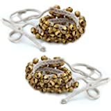 Prisha India Craft Kathak Ghungroo Pair, (50+50) (16 No. Ghungroo) Big Bells Tied with CottonCord Indian Classical Dancers A