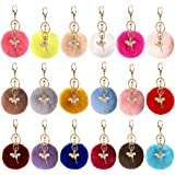 Cieovo 18 Pieces Pom Poms Keychains Fluffy Pompoms Keyring With Dancing Girl Keychain for Girls Bag Craft Ar