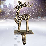 ODOMY Christmas Decorations Christmas Stocking Holder Metal Christmas Stocking Hangers for Mantle Fireplace Free Standing Dee