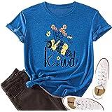 JTJFIT Women Flower Bee Kind T-Shirt Graphic Floral Shirt Tees Short-Sleeved Girls T-Shirt Top