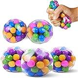 DIIIBARLORY Stress-Relief Sensory Stress Balls, Squishy Stress Balls Toy, Rainbow Stress Ball Clear Silicone Sensory Squeeze
