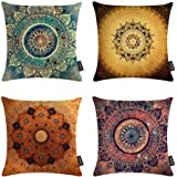 Ussuperstar Set of 4 Throw Pillow Covers Boho Compass Medallion Cushion Cover Throw Bright Floral Printed Pillow Case 18 X 18