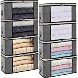 Isbasa 8 Pack Foldable Clothes Organizer Clothing Storage Bags with Clear Window Sturdy Zipper and Reinforced Handle for Blan