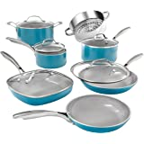 GOTHAM STEEL Pots and Pans 12 Piece Cookware Set with Ultra Nonstick Ceramic Coating by Chef Daniel Green, 100% PFOA Free, St