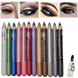 MEICOLY 12 Pcs Eyeshadow Stick Set,Colorful Shimmer Eyeshadow Pencil Crayon,Pro Waterproof & Long Lasting Eyeshadow Sticks wi