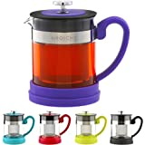 GROSCHE Valencia Personal Sized Teapot 20 oz. / 600 ml (Purple) Made with Borosilicate Glass, Stainless Steel and Silicone