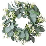 IRONLAND 12'' Wreath for Front Door Wall Artificial Eucalyptus Wreath with Green Leaves 12 inch Flowers Faux Green Leaves Euc