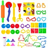 Pandapia 48-Piece Play Dough Tools for Kids Playdough Set Accessories Molds Scissor Cookie Cutter Party Favor Pack Playset fo
