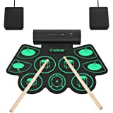Electronic Drum Set Digital Roll-Up MIDI Drum Kit 9 Silicon Durm Pad Built-In Stereo Speaker with 2 Foot Pedal for Children B