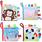 Adpartner Cloth Book for Baby, 4-Pack Soft Activity Crinkle Fabric Books for Infants Early Education, Baby's First Book Non-T