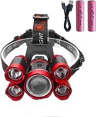 ZHENWEI 10000ルーメン LEDヘッドライト USB 充電式 実用点灯4.5-8時間18650電池付属