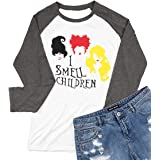 BANGELY Sanderson Sisters Halloween T Shirt I Smell Children Graphic Tees Women Letter Print Halloween Costume 3/4 Sleeve Top