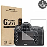 (Pack of 3) Tempered Screen Protector for Nikon D7100 D7200 D800 D800e D810 D750 D600 D610 D500, Akwox [0.3mm 2.5D High Defin