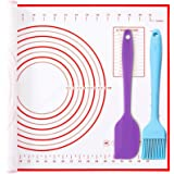 Large Silicone Baking Mat Pastry Mat (40cmx60cm) with Oil Brush and Spatula, Thickened Pastry Mat with measuring,Non Stick No