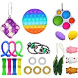23PCS Fidget Simple Dimple Toy Keychain, Push Pop Bubble Toy, Sensory Toy Stress Relief Hand Toys Decompression Toy for Kids