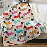 Sleepwish Colorful Dachshund Throw Blanket Puppy Wiener Dog Boys Girls Fleece Blanket Cute Doxies Animal Pattern Soft Warm Sh