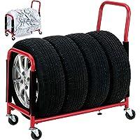 UP STORE 伸縮タイヤラック キャスター付きタイヤスタンド ゴム付き収納カバー付き 4本 タイヤのサイズに調整可能