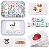 Coogam Wooden Magnetic Letters and Numbers Toys, Fridge Magnets ABC Alphabet Word Flash Cards Spelling Counting Game Learning