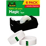 Scotch Brand Magic Tape with Black Dispenser, 6 Refill Rolls, Numerous Applications, Invisible, Engineered for Office and Hom
