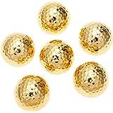 MUXSAM ゴルフボール 6個パック メタリック 高い視認性 ゴールドカラー キラキラ 42.67mm 合成ゴム