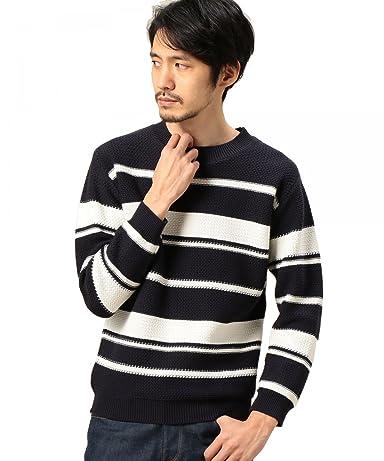 Cotton Stripe Crewneck Sweater 1213-105-3190: Navy