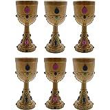 Jeweled Gold Goblets (Set of 6)-Royal Goblets, Medieval Cups