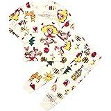 Unifriend 30s 伸縮性のある長袖 女児 キッズ パジャマ オーガニック 綿100% 子供 ルームウェア ねまき 上下セット