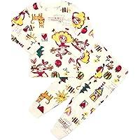 Unifriend 30s 伸縮性のある長袖 女児 キッズ パジャマ オーガニック 綿100% 子供 ルームウェア ねま…