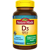 Nature Made Vitamin D 50 mcg (2000 IU) Softgels, 250 Count Everyday Value Size for Bone Health (Packaging May Vary)