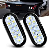 """Nilight TL-09 6"""" Oval White Tail 2PCS 10 LED w/Flush Mount Grommets Plugs IP67 Waterproof Reverse/Back Up Trailer Lights for"""