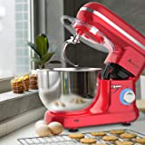 Ausbuy Stand Mixer, 900W 4.5L 6-Speed Tilt-Head Food Mixer, Kitchen Electric Mixer with Dough Hook, Wire Whip & Beater (Red 4