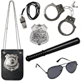 3 otters Police Pretend Play Toy Set, 6 pcs Kids Police Accessories Metal Handcuffs for Kids Boy Girl Birthday Present