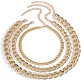 Ingemark 3 Layers Punk Rock Chain Necklace for Women Girls Stackable Layered Cool Chunky Thick Chain Choker Necklace Set