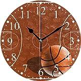 バスケットボールコート 掛け時計 置き時計 おしゃれ 北欧 油絵の効果 壁掛け 連続秒針 リビング 部屋装飾 贈り物