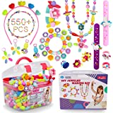 Pop Beads - 500+Pcs DIY Jewelry Making Kit for Toddlers 3, 4, 5, 6, 7 ,8 Year Old, Kids Pop Snap Beads Set to Make Hairband,