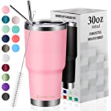 30oz Vacuum Insulated Tumbler Double Wall Coffee Cup by Umite Chef, Stainless Steel Travel Mug with Lid, 2 Straws, Brush & Gi