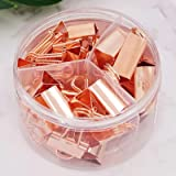 Rose Gold Binder Clips Paper Clamps, Assorted Sizes Set (Small, Medium, Large) for Office School and Home Supplies