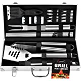 20pc Stainless Steel BBQ Grill Tool Set for Men with Gift Box Package by ROMANTICIST- Complete Outdoor Barbecue Grilling Acce