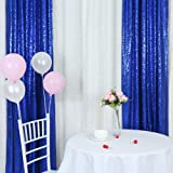 TRLYC Christmas Sequin Window Backdrop Curtain 2FT by 8FT, Other, Royal Blue, 2 Panel 2FT by 8FT
